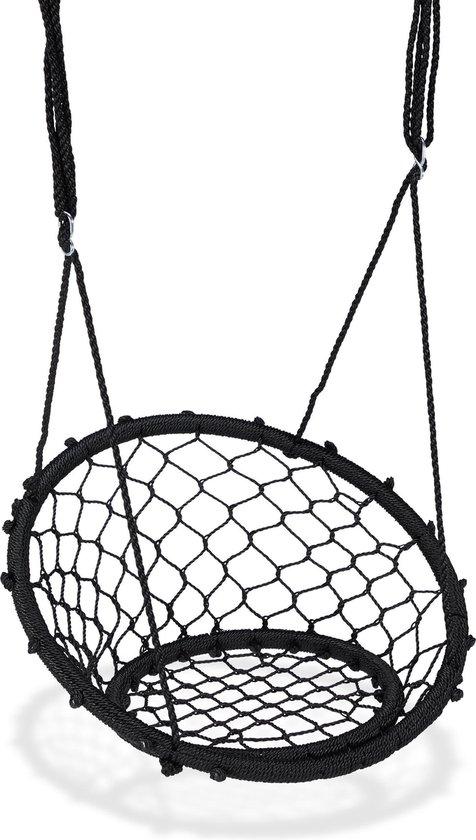relaxdays Hangstoel schommel – buiten schommel - zwart - nestschommel - netschommel