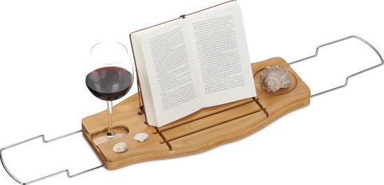relaxdays bamboe badplank uitschuifbaar - badkuiprekje - badcaddy - houten badrekje