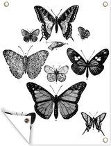 Een zwart-wit illustratie van enkele vlinders tuinposter 30x40 cm - klein - Tuindoek / Buitencanvas / Schilderijen voor buiten (tuin decoratie)