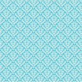 Canvas Corp printed paper 30,5x30,5cm turquoise white damask