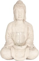 Clayre & Eef | Decoratie Buddha 26*20*40 cm | Beige | Terracotta | Boeddha | 6CE1080