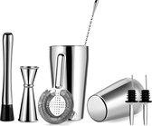 YONO Cocktail Shaker Set – Cocktailshaker 600ml met Maatbeker Jigger Zeef Schenktuiten Stirrer en Stamper – Zilver