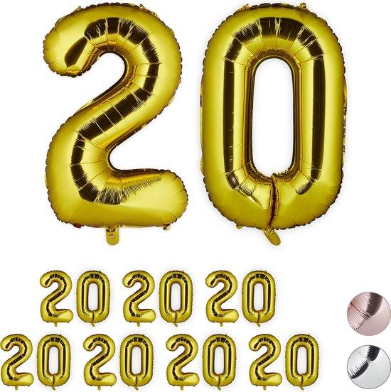 relaxdays 8x folieballon getal 20 - luchtballon folie ballon - XXL cijferballon - goud