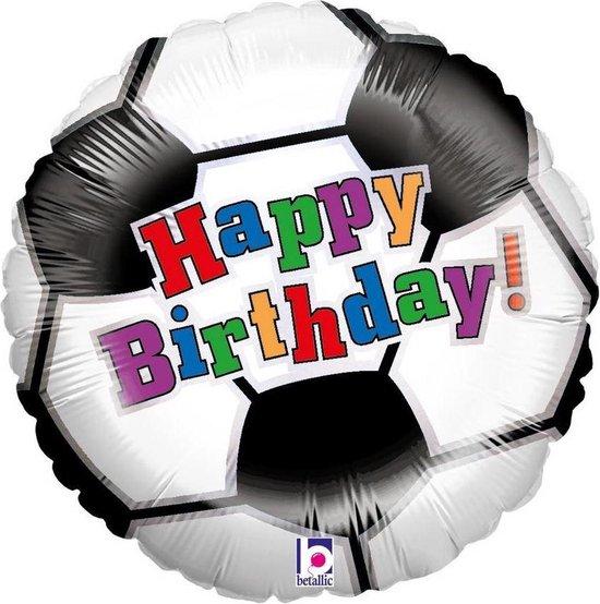 Folie cadeau sturen helium gevulde ballon Gefeliciteerd/Happy Birthday voetbal 46 cm - Voetballen fan/supporter cadeau - Folieballon verjaardag versturen/verzenden