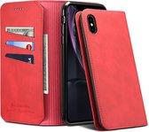 PU + TPU horizontale flip lederen tas met houder en kaartsleuven en portemonnee voor iPhone XR (rood)