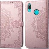 Voor Huawei Y9 (2019) Halverwege Mandala reliëfpatroon Horizontale flip lederen tas met houder en kaartsleuven & portemonnee en draagkoord (rose goud)
