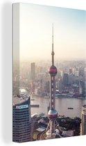 Luchtfoto van de Oriental Pearl Tower in Shanghai 20x30 cm - klein - Foto print op Canvas schilderij (Wanddecoratie woonkamer / slaapkamer)