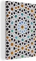 Een Marokkaanse Mozaïekdetail Canvas 80x120 cm - Foto print op Canvas schilderij (Wanddecoratie woonkamer / slaapkamer)