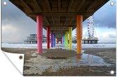 Gekleurde pilaren onder de Pier van Scheveningen 180x120 cm XXL / Groot formaat!