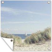 Duinen met de Noordzee op de achtergrond tuinposter 100x100 cm - Tuindoek / Buitencanvas / Schilderijen voor buiten (tuin decoratie) / Zee en Strand