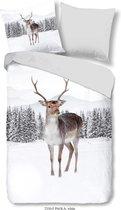 Dekbedovertrek Good Morning Katoen nr.2330 - Wit - Rendier - Sneeuw Maat: 135x200+1-80x80cm