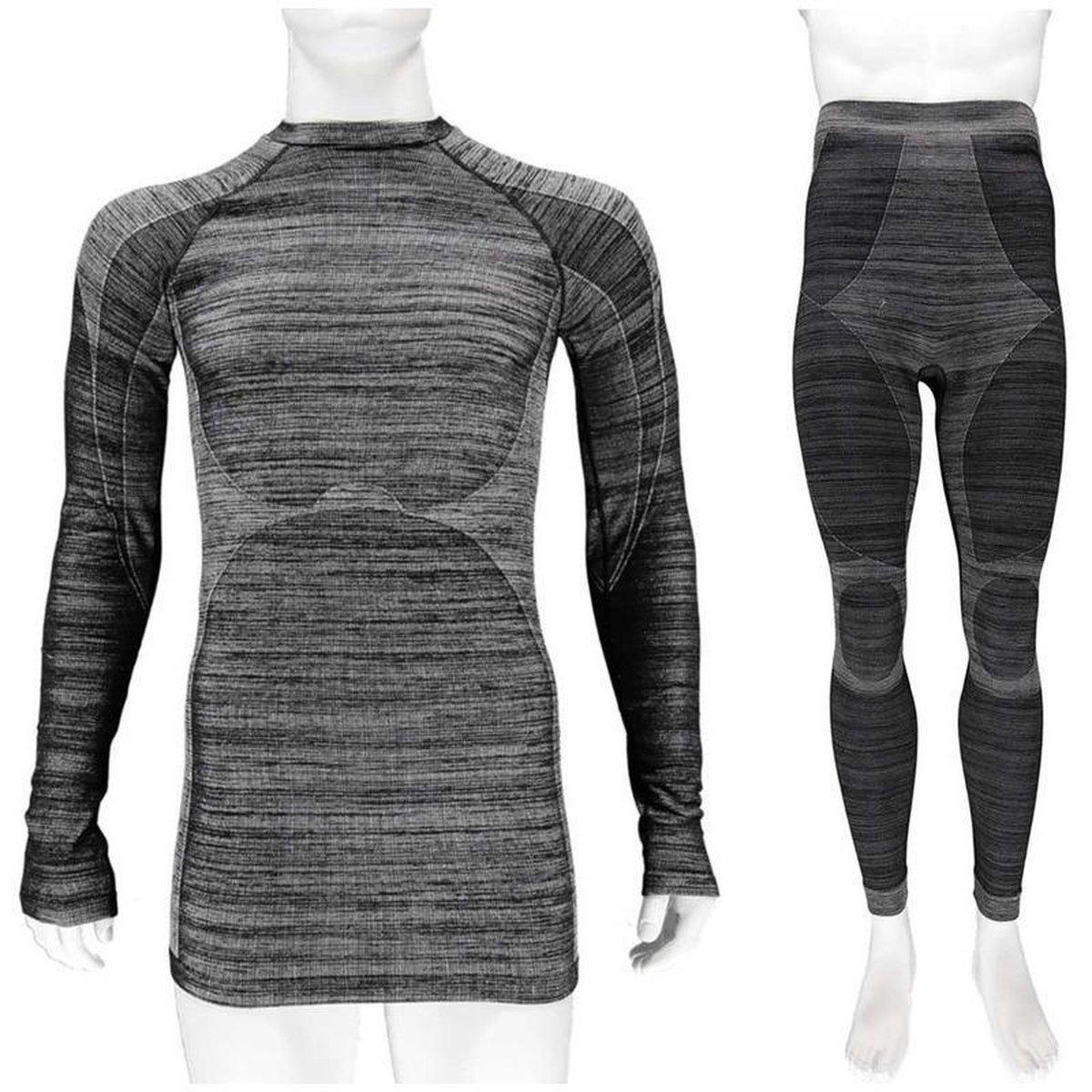 Thermo onderkleding set voor heren zwart melange - maat M - shirt lange mouw en broek - Wintersport kleding - Thermokleding