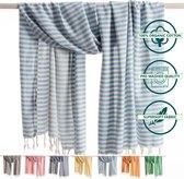ANATURES Hamamdoek XL HOLIDAY 95x190 cm   Hamam strandlaken, Badlaken, Sauna handdoek, Fouta pareo, Yoga handdoek   Fair Trade – Biologische katoen   Zacht blauw
