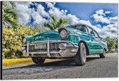Dibond –Blauwe Auto– 40x30 Foto op Aluminium (Wanddecoratie van metaal)