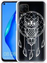Huawei P40 Lite Hoesje Dream Owl Mandala White