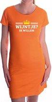 Wijntje ik Willem met gouden kroontje jurk oranje voor dames - Koningsdag - wijnliefhebber - supporters kleding / oranje jurkjes S
