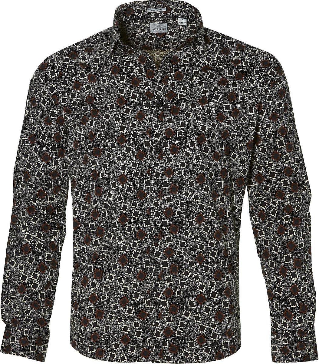 Dstrezzed Overhemd - Slim Fit - Bruin - 3XL Grote Maten