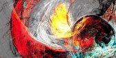 JJ-Art | Abstract | zwart wit, geel, rood, blauw | Foto-Schilderij print op Canvas (canvas wanddecoratie) | KIES JE MAAT