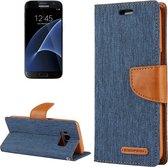 GOOSPERY CANVAS DAGBOEK voor Samsung Galaxy S7 canvas textuur horizontale flip lederen tas met kaartsleuven en portemonnee en houder (navy)