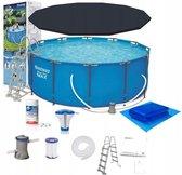 Zwembad de Luxe 457x122 - inclusief heel veel accessoires - buiten opzetzwembad