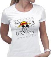 ONE PIECE - T-Shirt Basic Femme Skull Dessin De Luffy (XL)