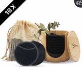 Bamboozy 16 Zwarte Herbruikbare Wattenschijfjes + Bamboe Houder 12x Dagelijks 4x Scrub 4 laags Wasbare Wattenschijfjes Zero Waste