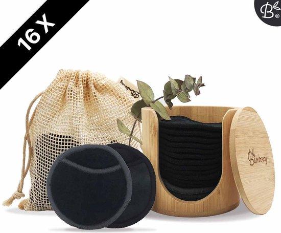 Zwarte Herbruikbare Wattenschijfjes + Bamboe Houder