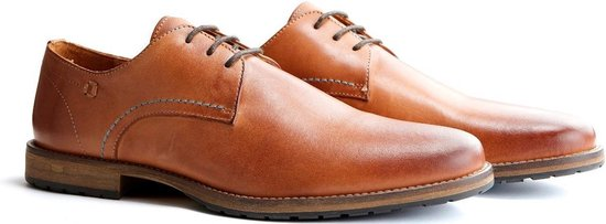 Travelin Manchester Leather - Leren veterschoenen - Cognac - Maat 41