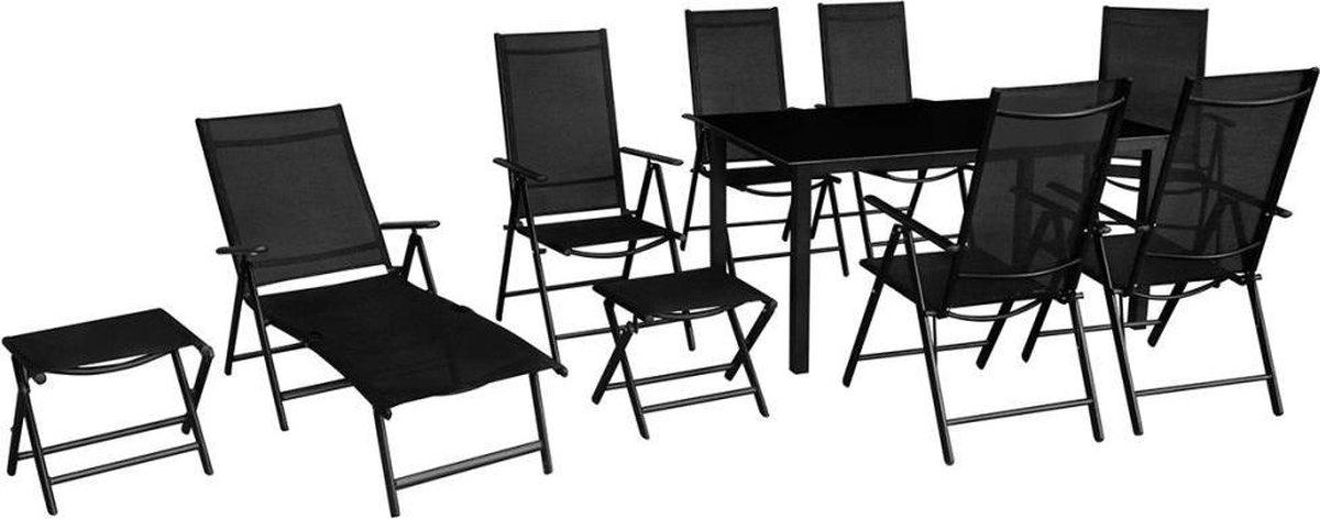 MiaXL 10-delige Tuinset - Tuinmeubelen - Complete tuinset - Tuintafel - Eetset - Loungeset - Ligbed - Inklapbaar - Aluminium - Zwart