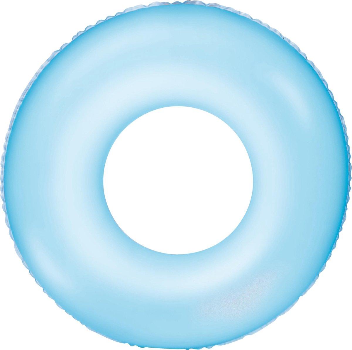 Opblaasbare neon blauwe zwemband 76 cm voor volwassenen - Zwembenodigdheden - Zwemringen - Veilig zwemmen - Blauwe zwembanden voor kinderen en volwassenen