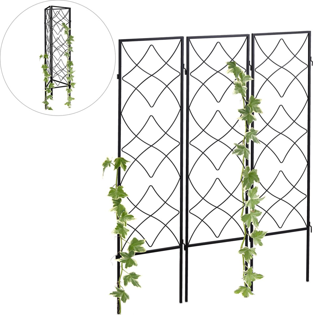 relaxdays klimplantenrek - 3 stuks - plantensteun - metaal - klimplantensteun - plantenrek