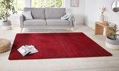 Modern effen vloerkleed Nasty - rood 67x120 cm