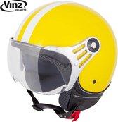 Vinz Fiori Jethelm Geel met Witte Strepen / Scooterhelm / Brommerhelm / Motorhelm / Fashionhelm voor Scooter / Vespa / Brommer / Motor