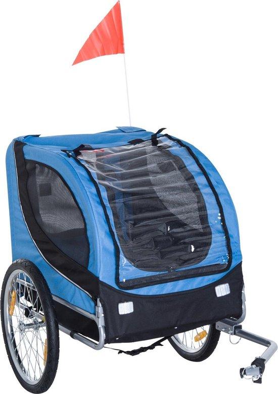 PawHut Hondentrailer fietskar opvouwbaar blauw