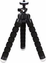 Mini statief - tripod - driepoot - flexibel statief - met houder voor fotocamera - smartphone - iPhone - Zwart
