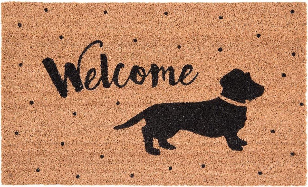 Clayre & Eef Deurmat teckel/hond tekst welcome 75x45x1cm - Clayre & Eef