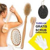 Rugborstel - Scrub Handschoen - Badborstel - Dry Brush - Gezichtsborstel - Gezichtsreiniger -  Doucheborstel Rugborstel - Huidborstel - Duurzaam Bamboe - Cellulite Borstel - 5-delige set - Hout