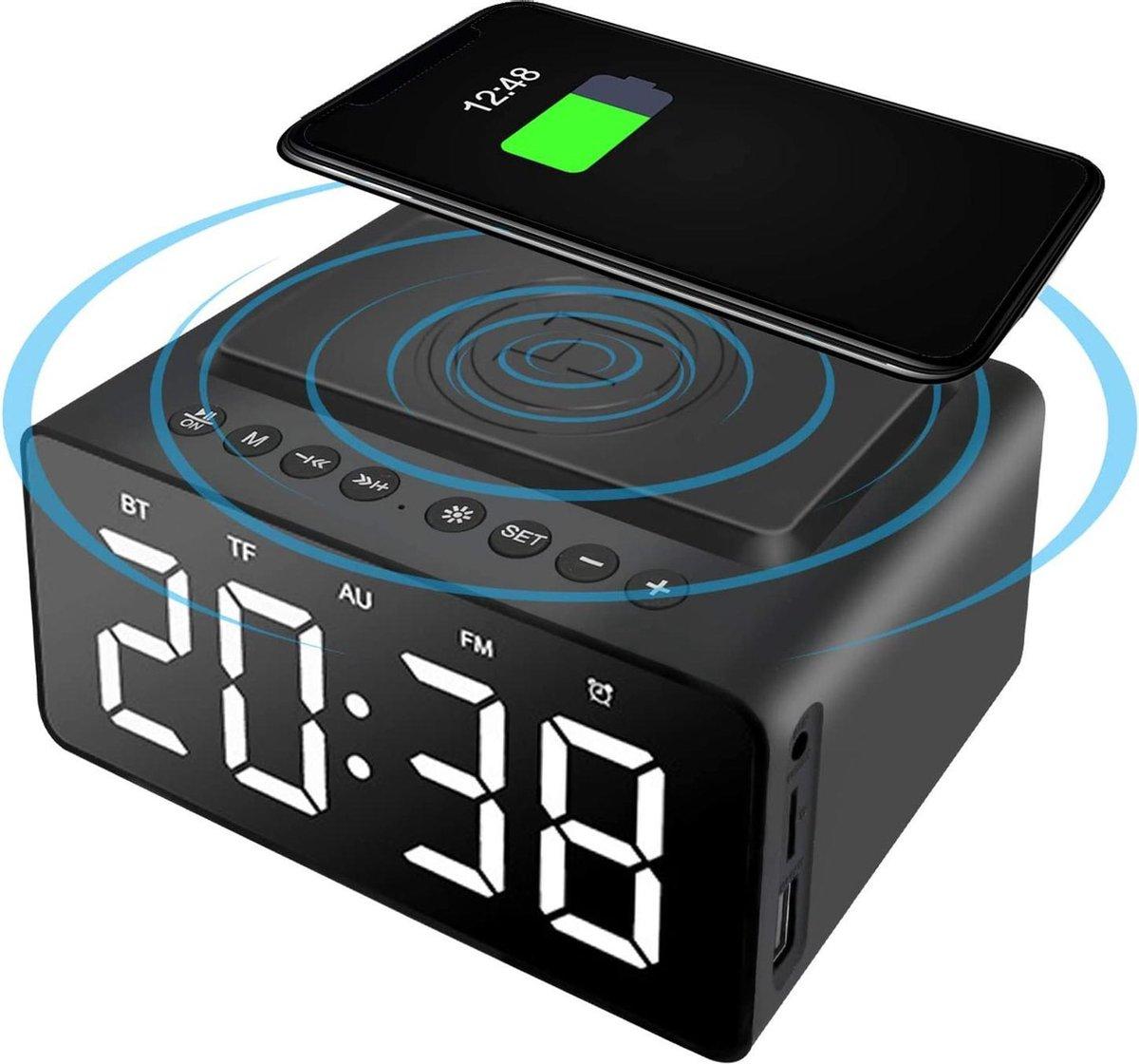 Garpex® Smart Alarmklok Speaker met Wireless Charging - 4 in 1 - Draadloos Opladen - Bluetooth Speaker - Wekker