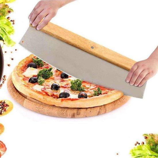 Hakmes – RVS met houten handvat – Pizza Mes – Pizza snijder – Deegsnijder –