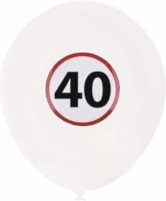 Tom Ballonnenset 40 Jaar 20 Cm Latex Wit 6-delig