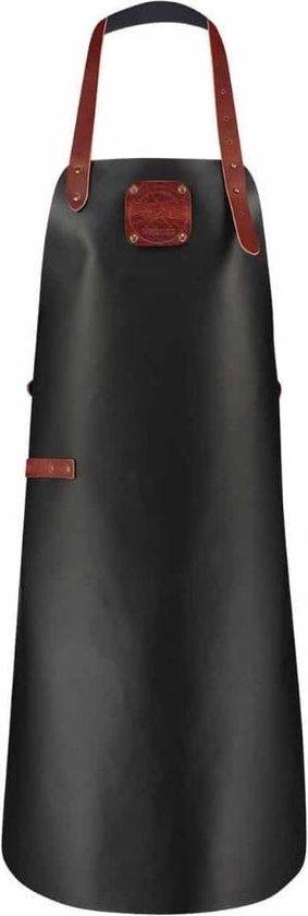 Witloft Keukenschort Xxl 90 X 73 Cm Leer Zwart/cognac
