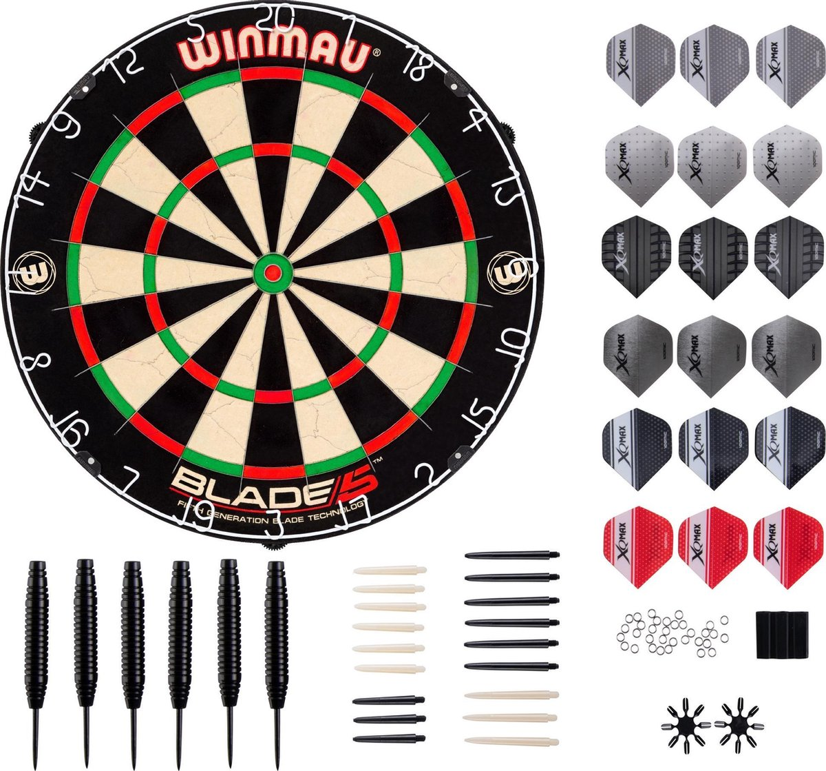Winmau Blade 5 Dartbord + 2 Sets Steeldarts + 90 Pieces