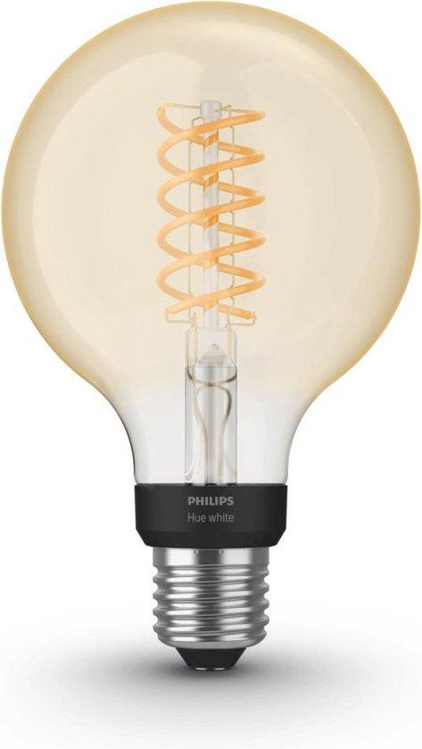 Philips Hue Filament Lichtbron E27 Globe - White - Ø 9,5 cm - 7W - Bluetooth