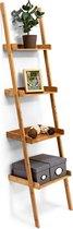 relaxdays ladderrek bamboe - rek 4 planken - wandrek - houten rek - bruin