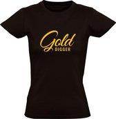 Gold Digger Dames t-shirt | golddigger | miljonair | goud | geld | Zwart