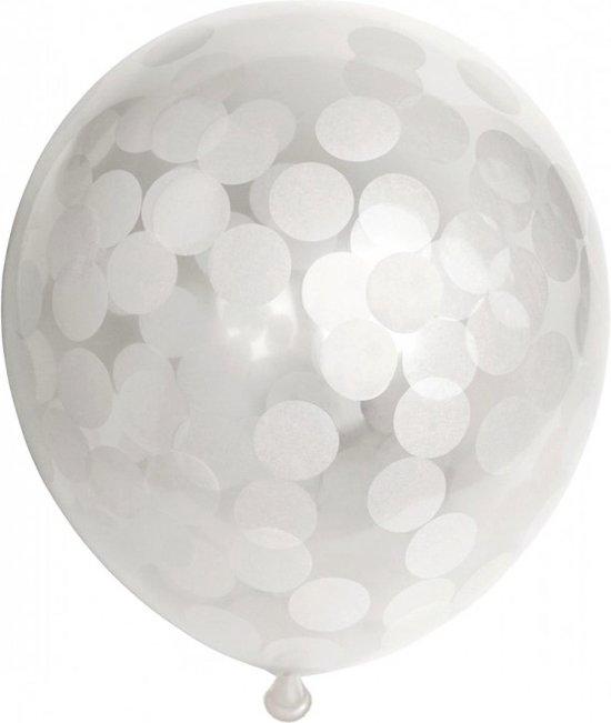 Ballonnen - Confetti - Wit - 30cm - 6st.