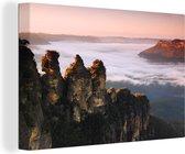 Vergezicht van het Nationaal park Blue Mountains in Katoomba Canvas 180x120 cm - Foto print op Canvas schilderij (Wanddecoratie woonkamer / slaapkamer) XXL / Groot formaat!