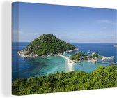 Eilanden voor de kust van Ko Tao Thailand Canvas 140x90 cm - Foto print op Canvas schilderij (Wanddecoratie woonkamer / slaapkamer)