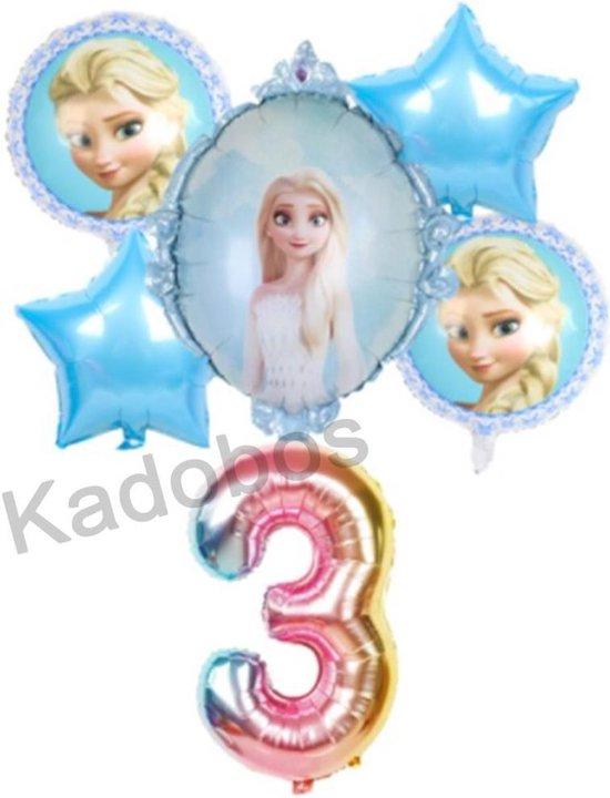 Frozen ballonnen set verjaardag 3 jaar - folie ballon Elsa 6 delig