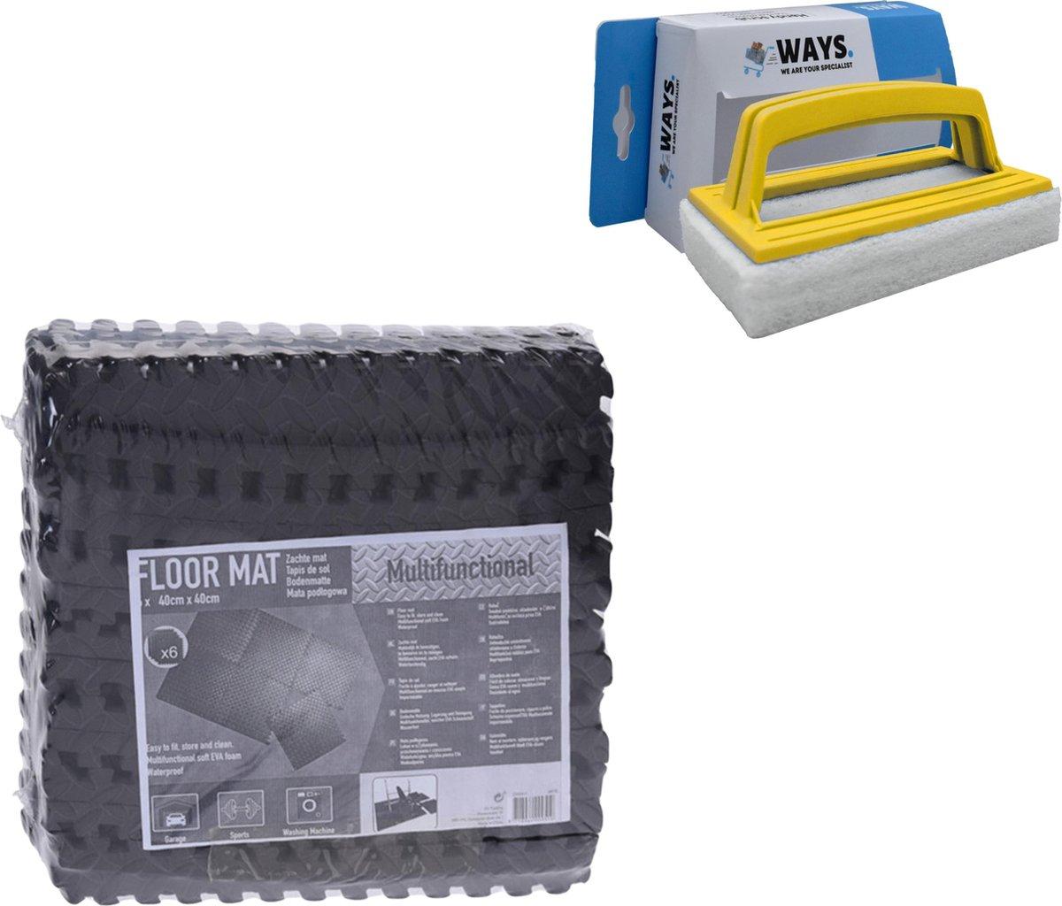 Zwembadtegels - Voordeelverpakking - 1 verpakking van 6 tegels - 40x40 cm & WAYS scrubborstel